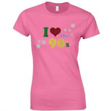 I Love The 90s Ladies Fitted T-Shirt - Women Fancy Dress Glitter Print Party Top